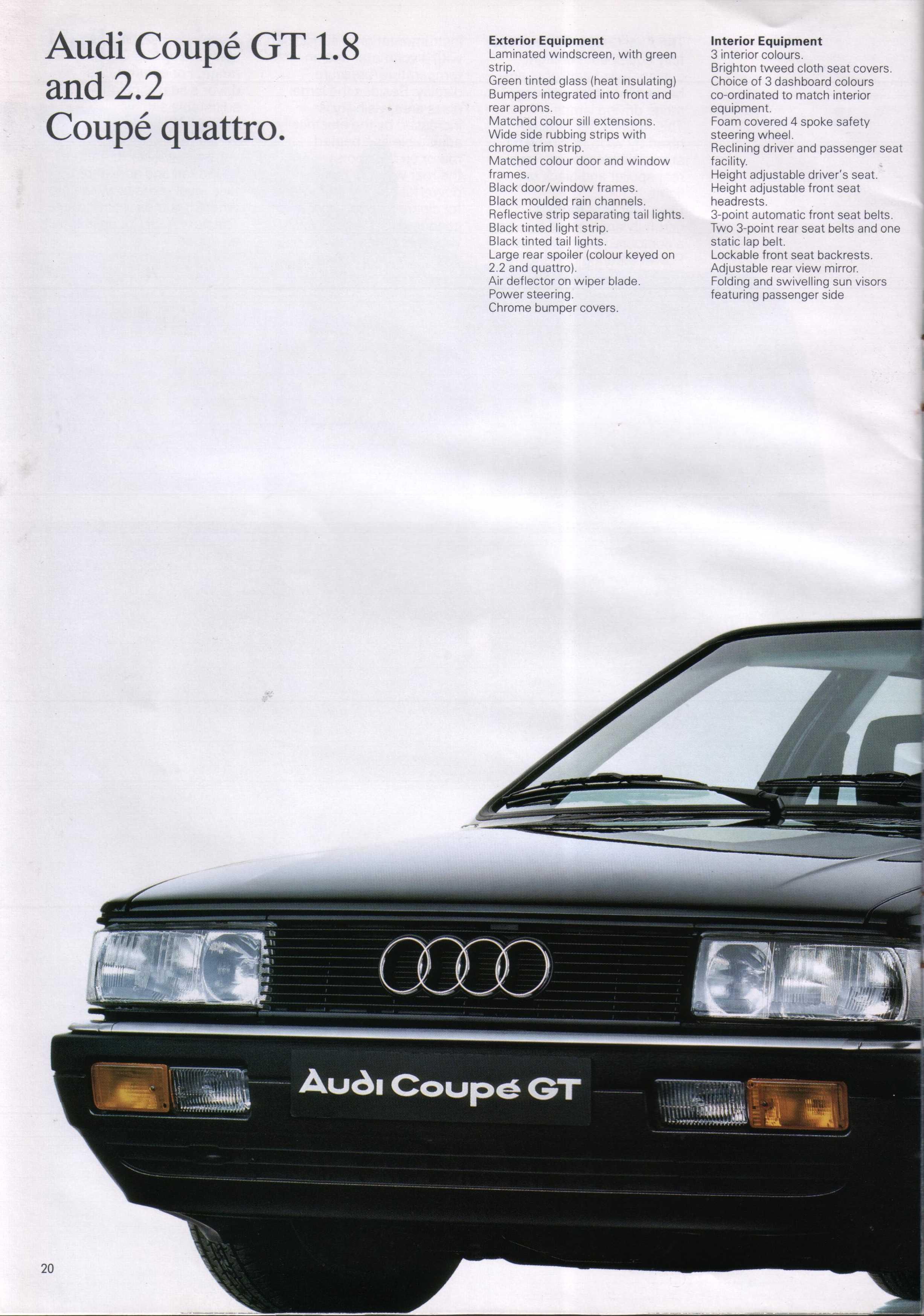 1987 Audi Coupe Brochure
