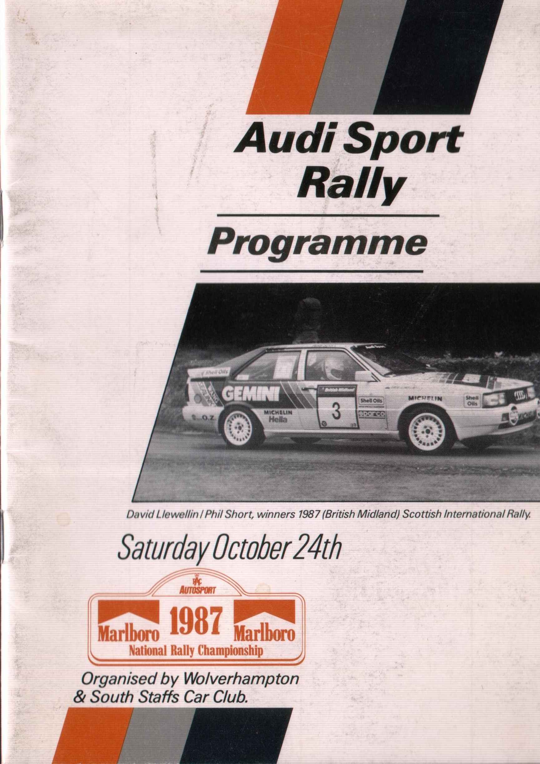 The Cover Page From The Programme Of An Audi Sport Rally